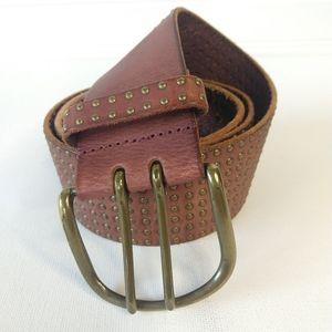 LINEA PELLE  | Genuine Leather Studded Wide Belt
